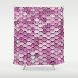 Light Pink Glitter Mermaid Sparkling Scales - Mermaidscales Shower Curtain