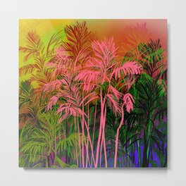 Palm Tree Pattern In Brilliant Colors Metal Print