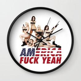 America Fuck Yeah Wall Clock