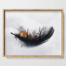 Fire Feather • Black Feather (horizontal) Serving Tray
