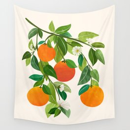 Oranges and Blossoms II / Tropical Fruit Illustration Wall Tapestry