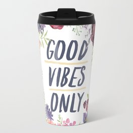 Wreath Good Vibes Only with purple flowers Travel Mug