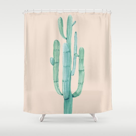 Solo Cactus Mint On Coral Pink Shower Curtain By Nature