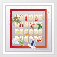 calendar Art Prints featuring  Advent Calendar by rusanovska
