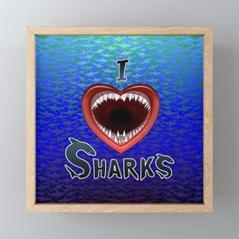 I Love Sharks Jaws Heart. Framed Mini Art Print
