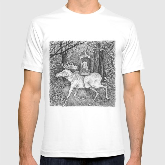 Fox riding moose T-shirt