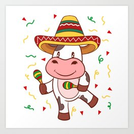 "Mexican themed Top Garment Apparel ""Cow Farm Grill Meat BBQ Brisket"" T-shirt Design Mexico Art Print"