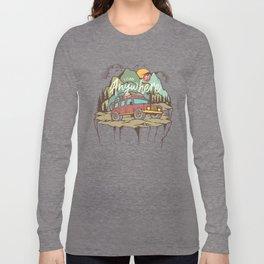 Mountains Road Trip Outdoor Camping SUV Adventure T-Shirt - Design Illustration Print Artwork Gift Long Sleeve T-shirt
