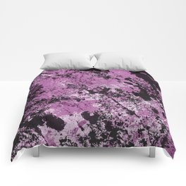 Abstract Texture Deux - Purple, White and Black Comforters
