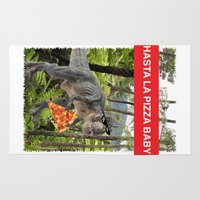 trex Area & Throw Rugs featuring PIZZA TREX!! by anthonykun