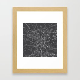 Krakow Map, Poland - Gray Framed Art Print