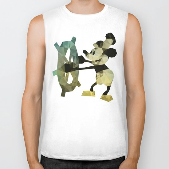 Mickey Mouse as Steamboat Willie Biker Tank