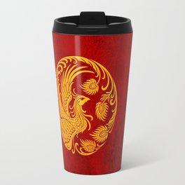 Traditional Yellow and Red Chinese Phoenix Circle Travel Mug