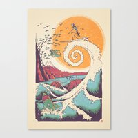 wave Canvas Prints featuring Surf Before Christmas by Victor Vercesi