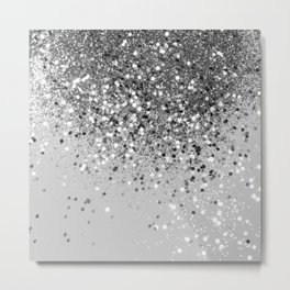 Soft Silver Gray Glitter #1 (Faux Glitter - Photography) #shiny #decor #art #society6 Metal Print