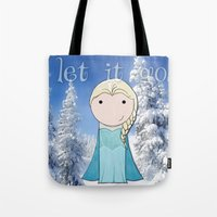 frozen elsa Tote Bags featuring Elsa: Frozen  by Jen Talley