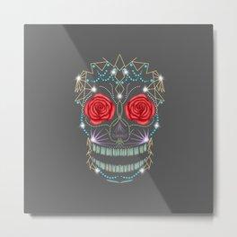 Abstract Rose Sugar Skull Metal Print