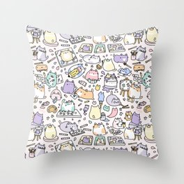 Artsy Cats Throw Pillow