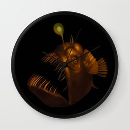 Deep Sea Anglerfish Watercolor Wall Clock