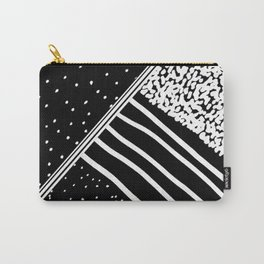 Geometrical black white watercolor polka dots stripes Carry-All Pouch