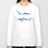 sharks Long Sleeve T-shirts featuring Sharks by Alina Bachmann