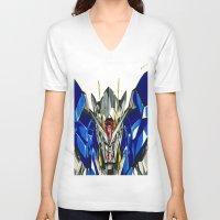gundam V-neck T-shirts featuring Gundam 00 by Glen Howy