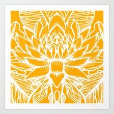 Golden Yellow Lotus Art Print
