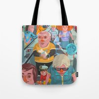 budapest Tote Bags featuring metro Budapest by Zsolt Vidak