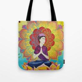 Frida Transcending Mandala and Lotus Blossom Tote Bag