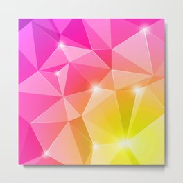 Pink & Gold Diamonds Metal Print