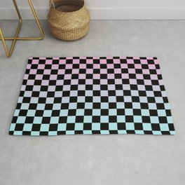 Pink and Blue Gradient Checkers Rug
