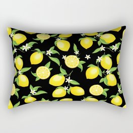 You're the Zest - Lemons on Black Rectangular Pillow