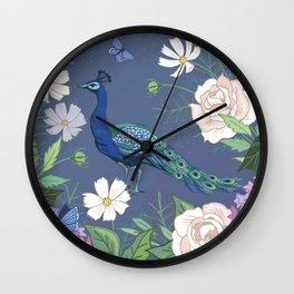 Peacock in a Botanical Garden Wall Clock