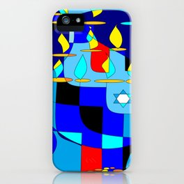 A Community Chanukah (Hanukkah) in Blue Tones with Red iPhone Case