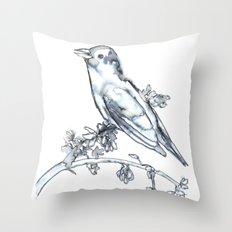 Singing Bird, watercolor Throw Pillow