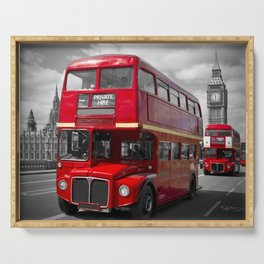 LONDON Red Buses on Westminster Bridge Serving Tray