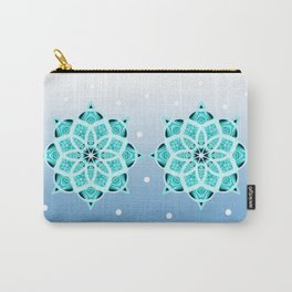 Blue starry snowflake with tribal patterns Carry-All Pouch
