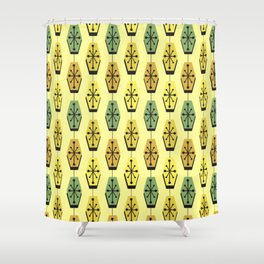 Mid Century Modern Hexagons Lemon Yellow Shower Curtain