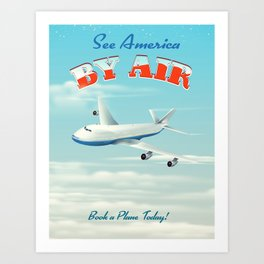 See America By Air Commercial Airliner travel poster. Art Print