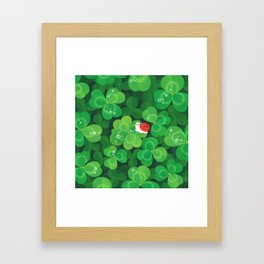 Happy lucky snail Framed Art Print