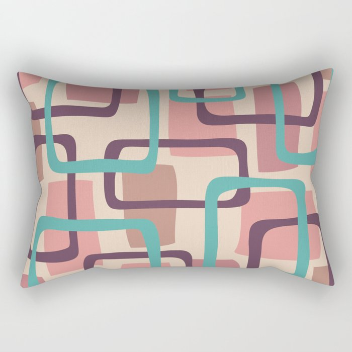 Mid Century Modern Overlapping Squares Pattern 128 Rectangular Pillow