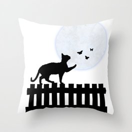 Playful Cat on a Fence Throw Pillow