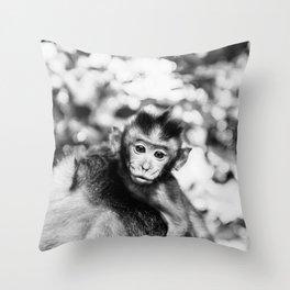 Monkey Pucker Throw Pillow