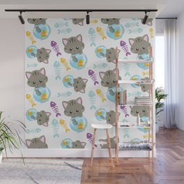 Kittens With Fish Bowls, Cat Pattern, Fishes Wall Mural