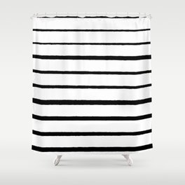 Black and White Rough Organic Stripes Shower Curtain