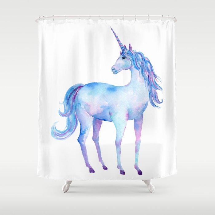 Watercolor Unicorn Shower Curtain