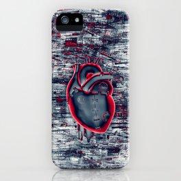Gamer Heart BLUE CRIMSON / 3D render of mechanical heart iPhone Case