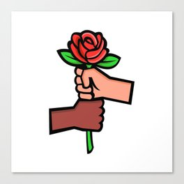 Two Hands Holding Red Rose Mascot Canvas Print