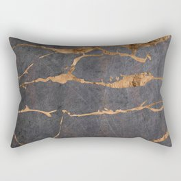 Scratched Suede and Gold Cracks Abstract Rectangular Pillow