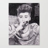 zayn malik Canvas Prints featuring Zayn Malik by teresartwork